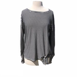 Glitz black and white striped top